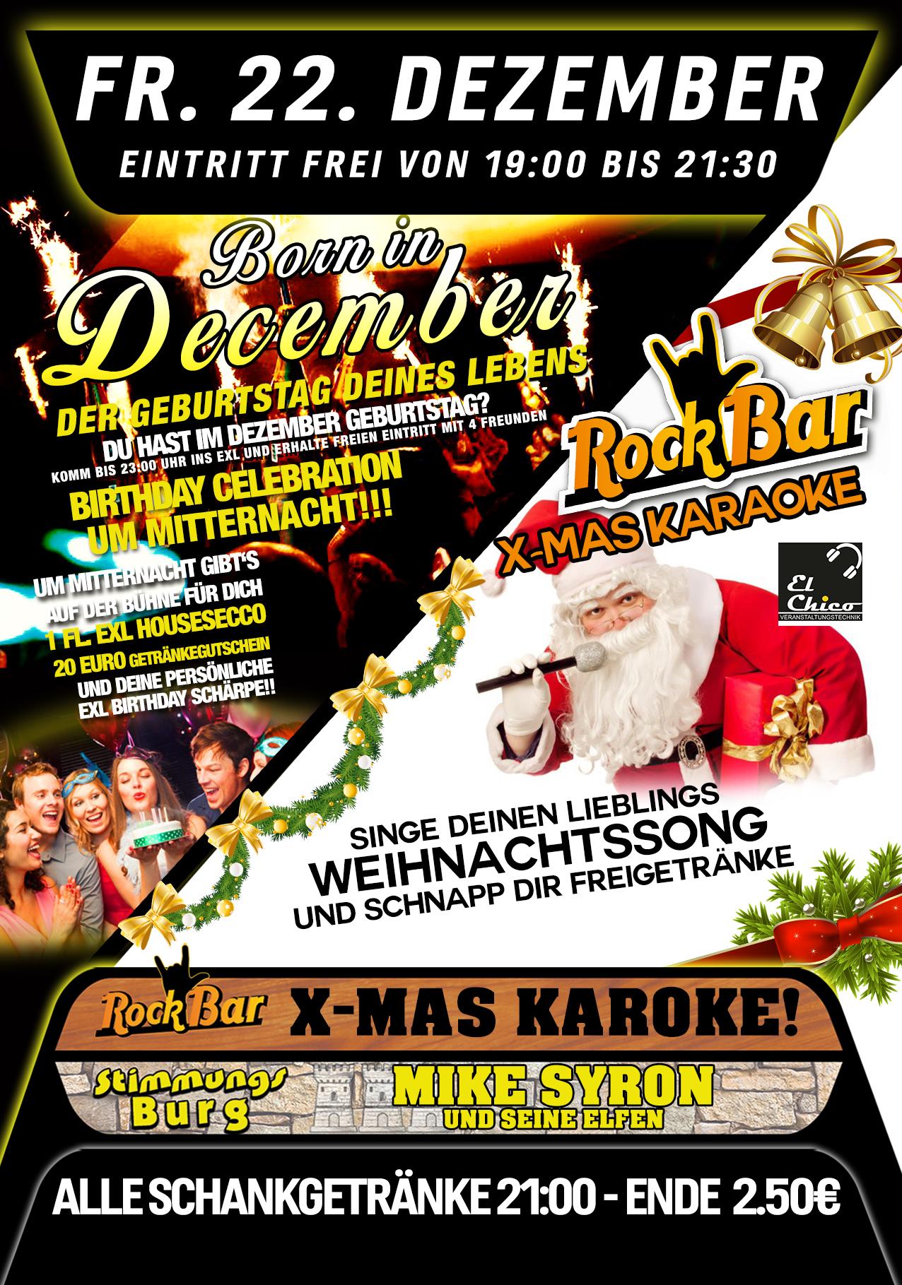 Born in December + Xmas Karaoke in der Rockbar