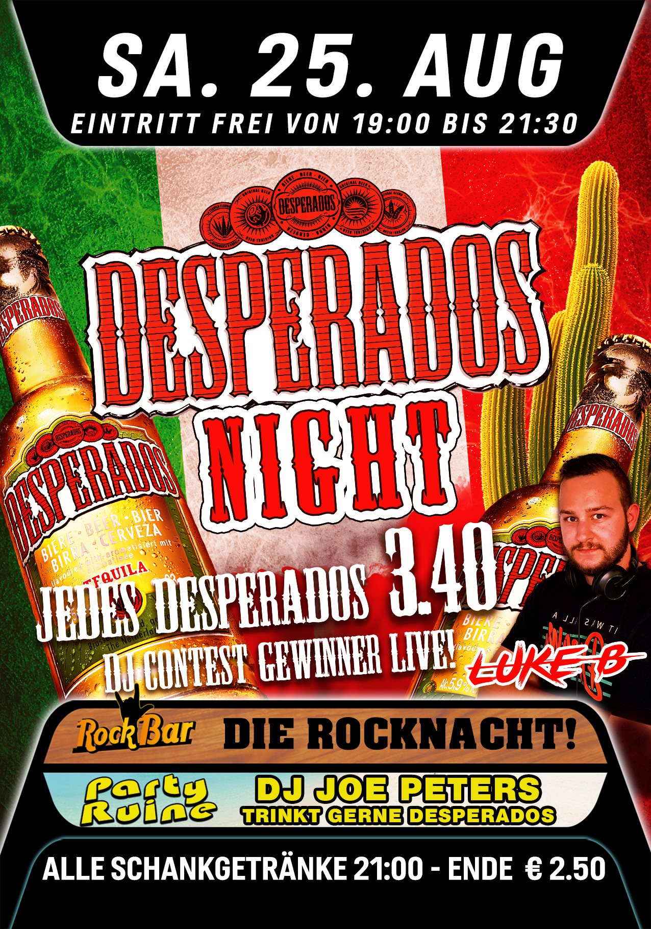 Desperados Night mit DJ Contest Sieger LUKE.B